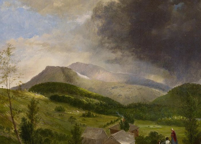 Couple Greeting Card featuring the painting Approaching Storm White Mountains by Alvan Fisher