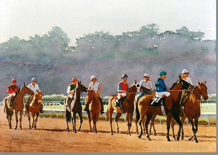 Horse Racing Greeting Card featuring the painting Approaching The Starting Gate by Mary Helmreich