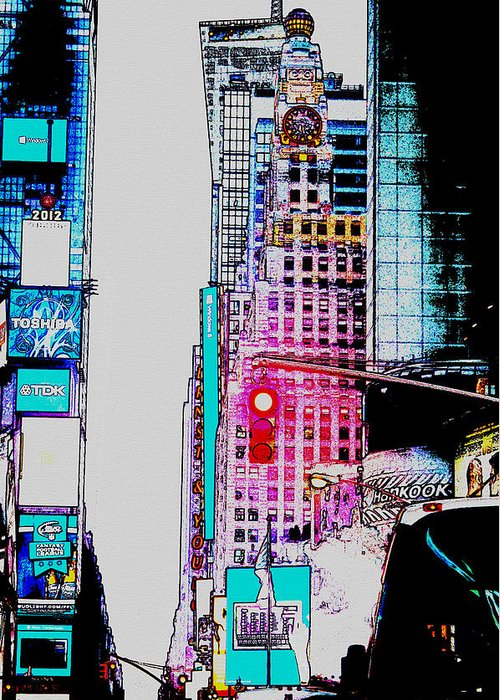 Digital Art Greeting Card featuring the digital art Approaching Times Square by Teresa Mucha