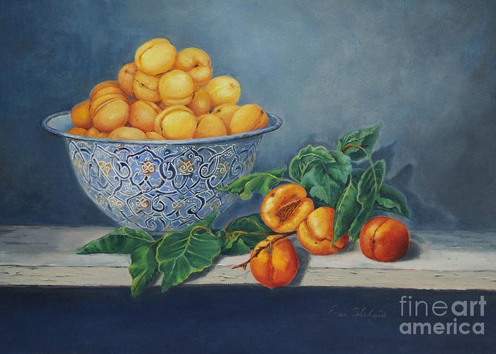 Fruit Greeting Card featuring the painting Apricots And Peaches by Enzie Shahmiri