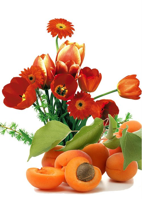 Apricots Greeting Card featuring the photograph Apricots And Red Roses by Munir Alawi