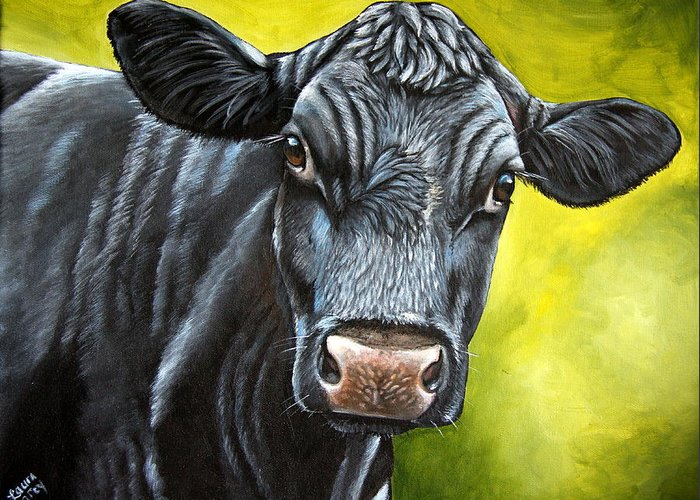 Cow Greeting Card featuring the painting April by Laura Carey