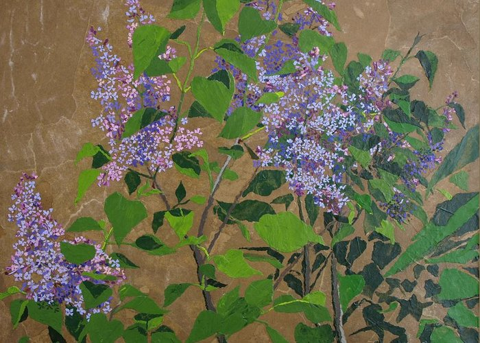 Lilacs Greeting Card featuring the painting April Lilacs by Leah Tomaino