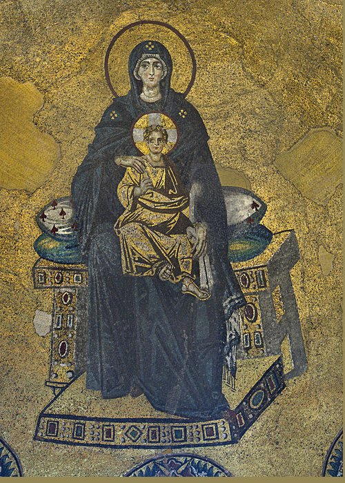 Istanbul Greeting Card featuring the photograph Apse Mosaic Hagia Sophia Virgin And Child by Ayhan Altun
