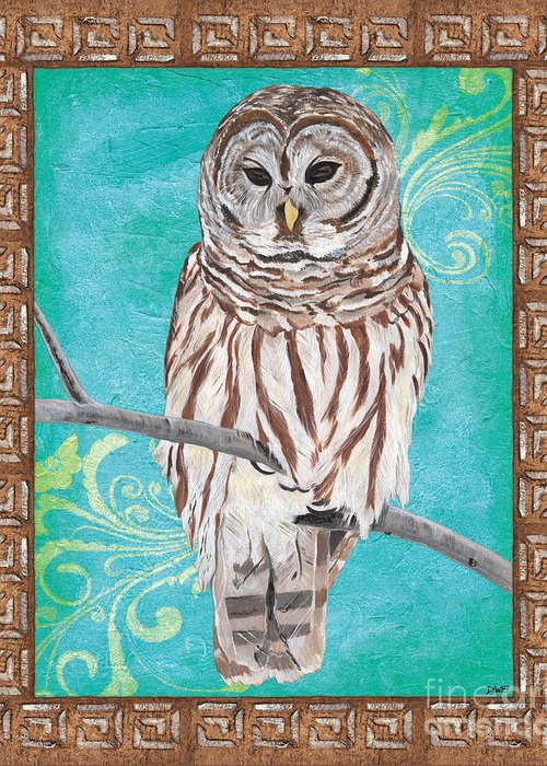 Owl Greeting Card featuring the painting Aqua Barred Owl by Debbie DeWitt