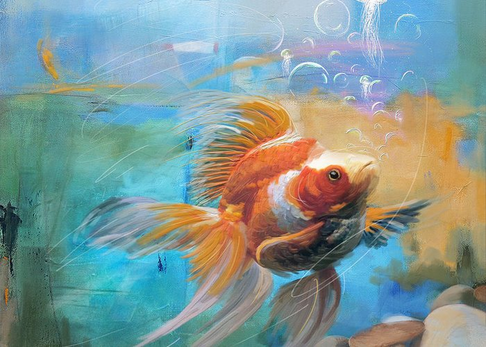 Goldfish Paintings Greeting Cards