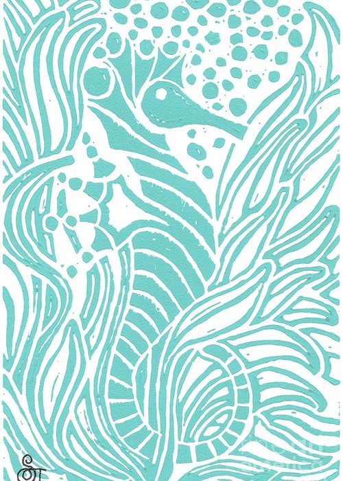 Coastal Art Greeting Card featuring the painting Aqua Seahorse by Stephanie Troxell