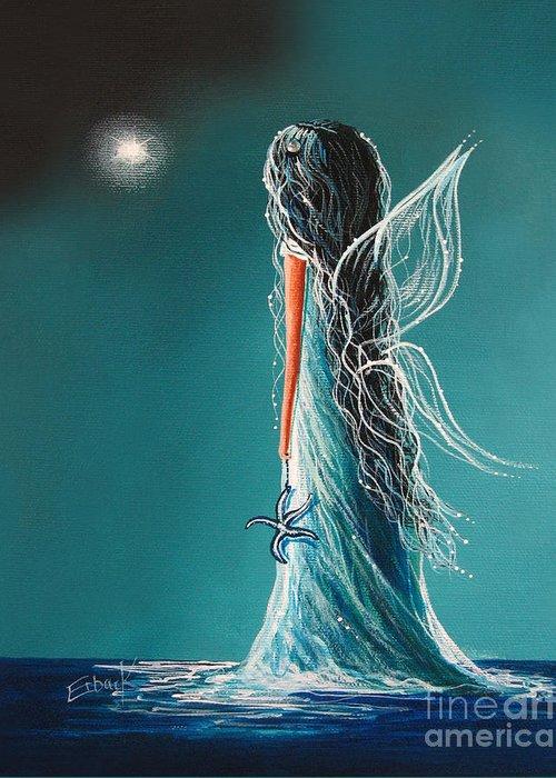Fairies Greeting Card featuring the painting Aquamarine Fairy By Shawna Erback by Shawna Erback