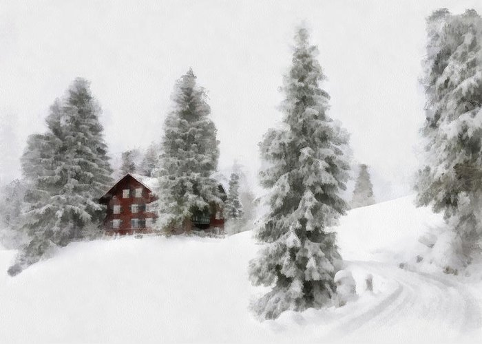 Aquarell Greeting Card featuring the digital art Aquarell - Beautiful Winter Landscape With Trees And House by Matthias Hauser