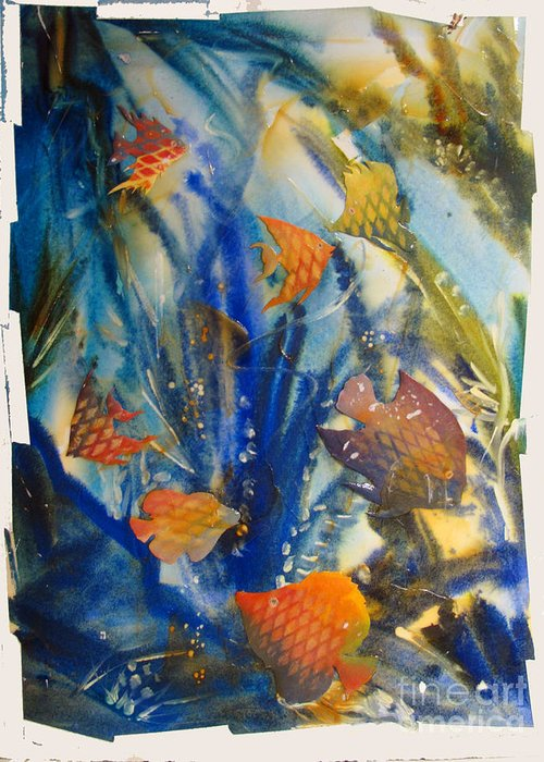 Aquarium Greeting Card featuring the painting Aquarium 2 Archived Work by Charlie Spear