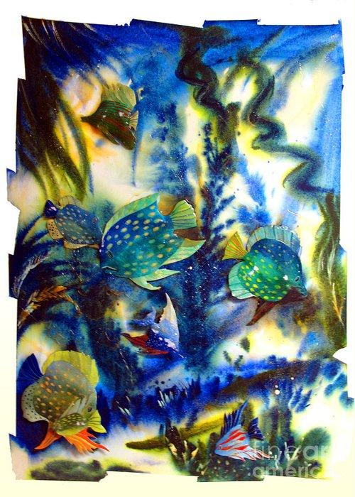 Aquarium Greeting Card featuring the painting Aquarium Archived Work by Charlie Spear