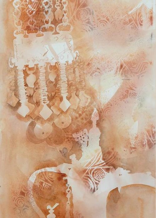 Arabesque Greeting Card featuring the painting Arabesque Coffee Pots And Jewellery IIi by Beena Samuel