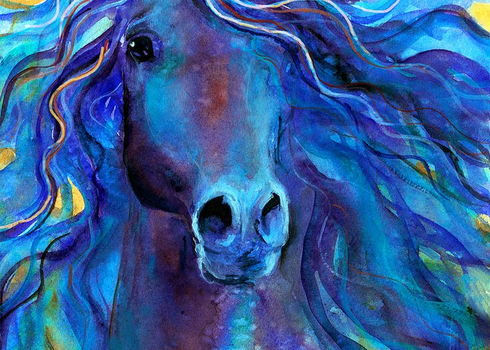 Arabian Horse Painting Greeting Card featuring the painting Arabian Horse #3 by Svetlana Novikova