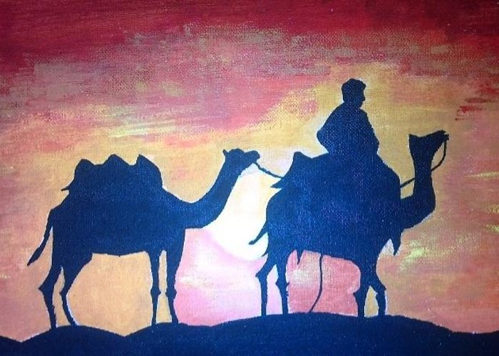 Desert Greeting Card featuring the painting Arabian Sands by Remya Damodaran