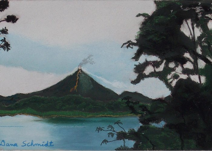 Aranal Greeting Card featuring the painting Aranal Volcano Costa Rica by Dana Schmidt