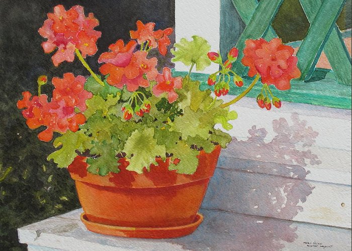 Flowers Greeting Card featuring the painting Arbor Gallery Steps by Mary Ellen Mueller Legault