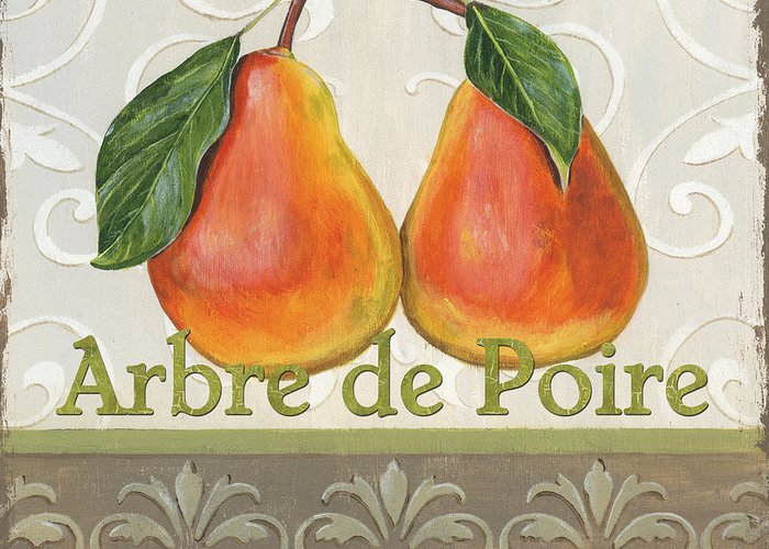 Kitchen Greeting Card featuring the painting Arbre De Poire by Debbie DeWitt