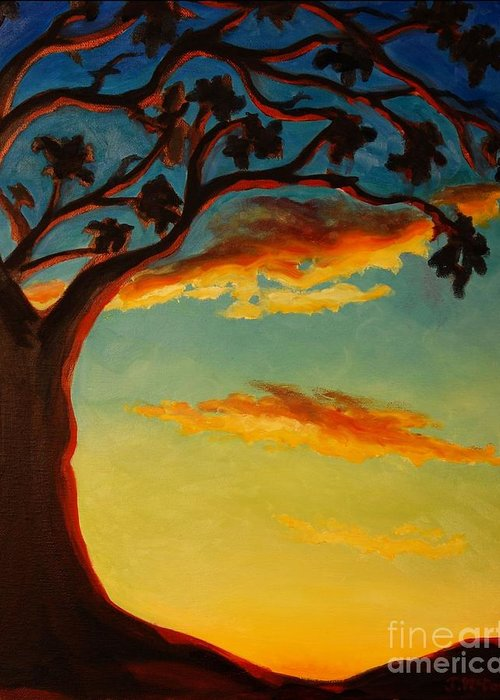 Nature Greeting Card featuring the painting Arbutus Sunrise by Janet McDonald