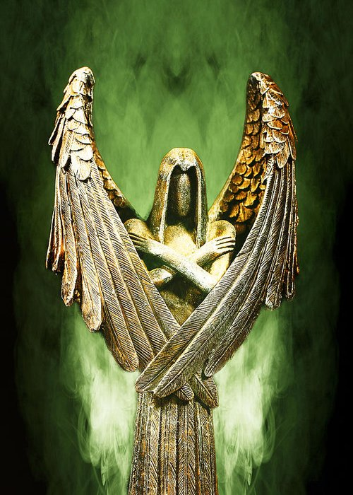 Angel Greeting Card featuring the photograph Archangel Azrael by Bill Tiepelman