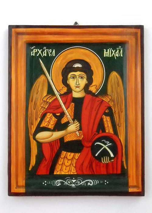 Archangel Michael Greeting Card featuring the painting Archangel Michael Hand-painted Wooden Holy Icon Orthodox Iconography Icons Ikons by Denise Clemenco