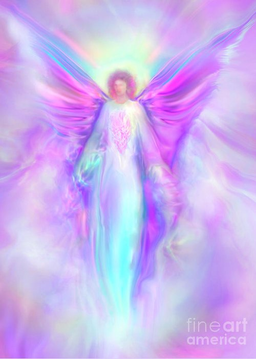 Archangel Raphael Greeting Card featuring the painting Archangel Raphael by Glenyss Bourne