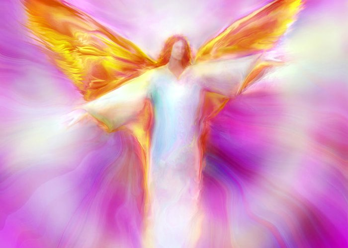 Angel Greeting Card featuring the painting Archangel Sandalphon In Flight by Glenyss Bourne