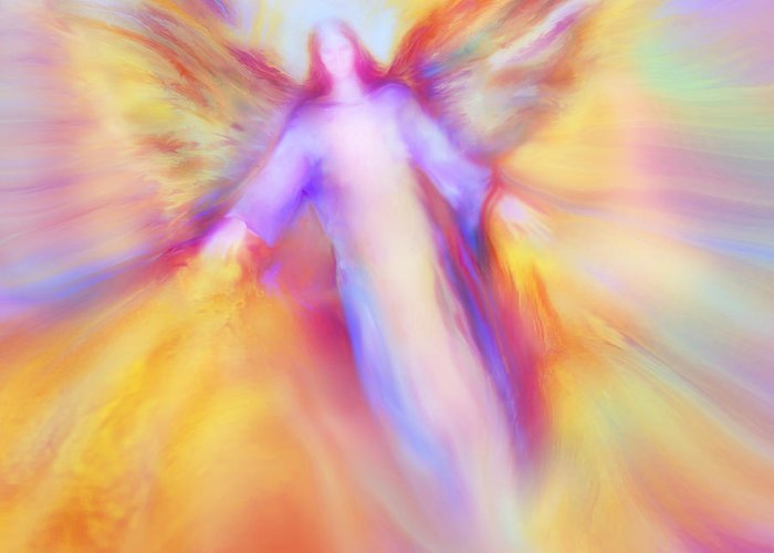Archangel Uriel Greeting Card featuring the painting Archangel Uriel In Flight by Glenyss Bourne
