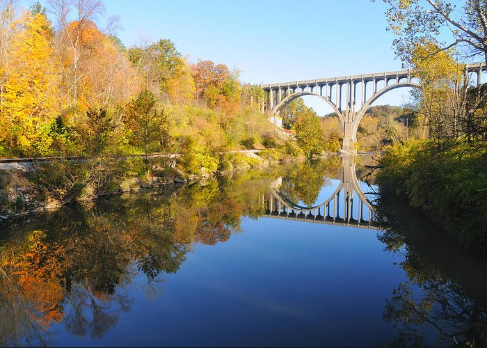 Valley Greeting Card featuring the photograph Arched Bridge Over Blue Water by Kenneth Sponsler