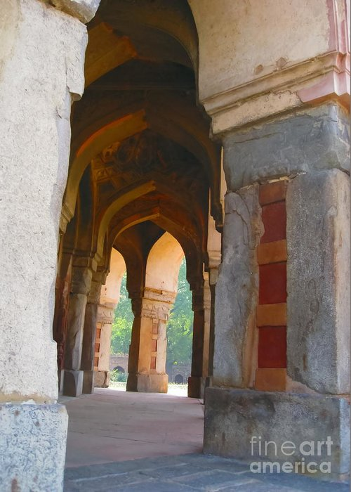 Arch Greeting Card featuring the photograph Arches At Red Fort by Mary Pille