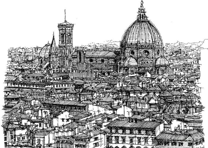 Florence Skyline In Ink Lee-ann Adendorff Pen Duomo Basilica Di Santa Maria Del Fiore Architectural Sketch Architect Illustration City Roofscape Illustrator Architect Tuscany Firenze Basilica Architecture Framed Prints Greeting Card featuring the drawing Architecture Of Florence Skyline In Ink by Adendorff Design