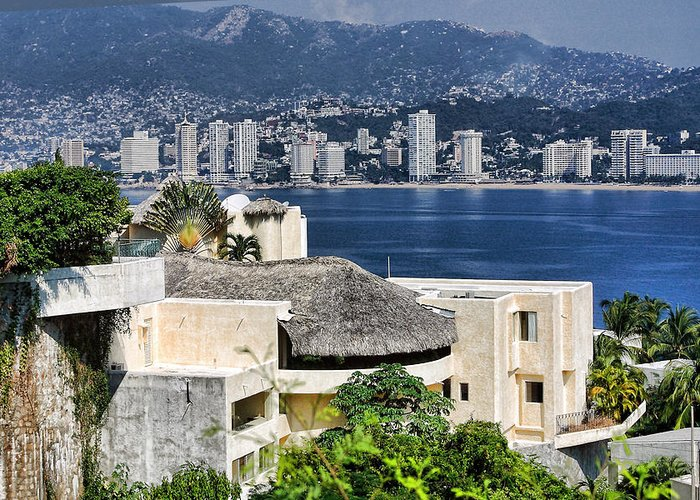 Travel Greeting Card featuring the photograph Architecture With Ith Acapulco Skyline by Linda Phelps