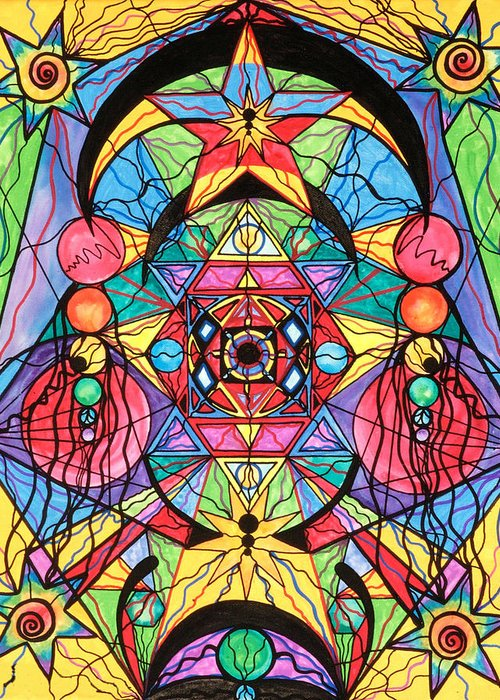Arcturian Ascension Grid Greeting Card featuring the painting Arcturian Ascension Grid by Teal Eye Print Store