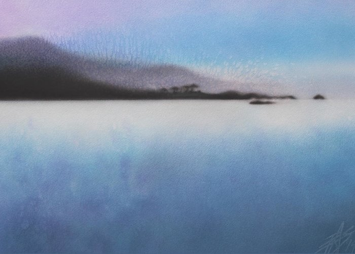 Landscape Art Greeting Card featuring the painting Argent Calm by Robin Street-Morris