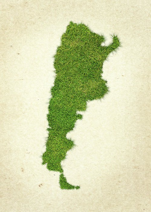Map Of Argentina Greeting Card featuring the photograph Argentina Grass Map by Aged Pixel