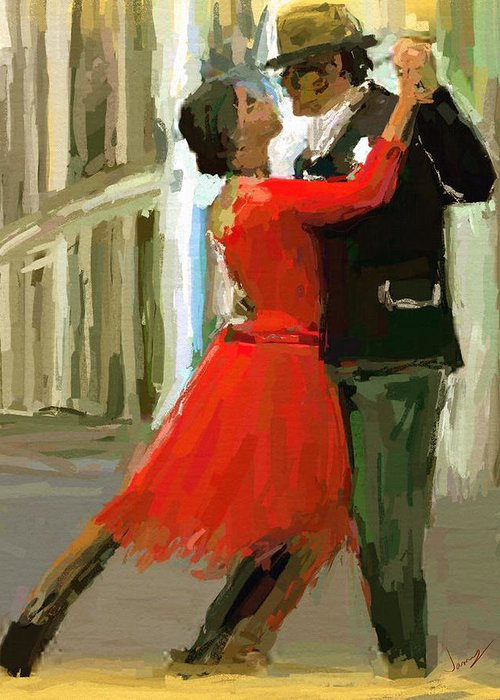 Impressionism Greeting Card featuring the painting Argentina Tango by James Shepherd