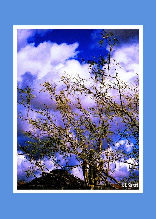 Arizona Greeting Card featuring the photograph Arizona Mesa Through A Mesquite Tree by L L Stewart