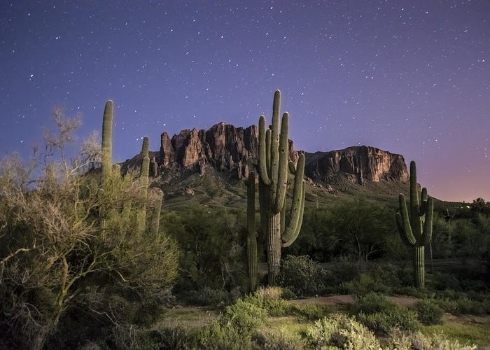 Landscape Greeting Card featuring the photograph Arizona Superstition Mountains Night by Michael J Bauer