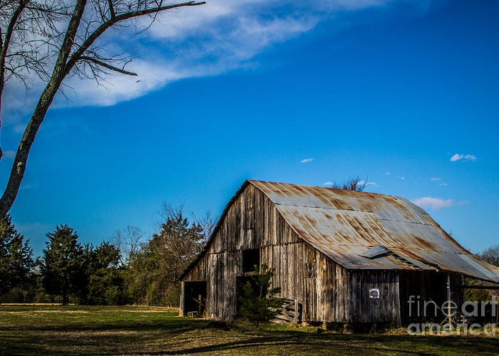 Barns Greeting Card featuring the photograph Arkansas Barn And Blue Skies by Jim McCain