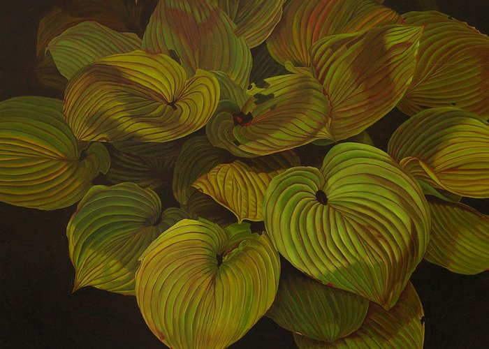 Plants Greeting Card featuring the painting Arkansas Green by Thu Nguyen
