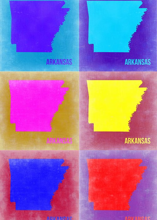 Arkansas Map Greeting Card featuring the painting Arkansas Pop Art Map 2 by Naxart Studio