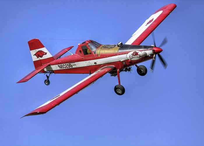 Crop Greeting Card featuring the photograph Arkansas Razorbacks Air Tractor by Jason Politte