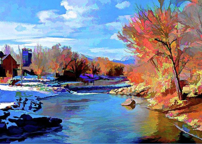 Arkansas Greeting Card featuring the digital art Arkansas River In Salida Co by Charles Muhle
