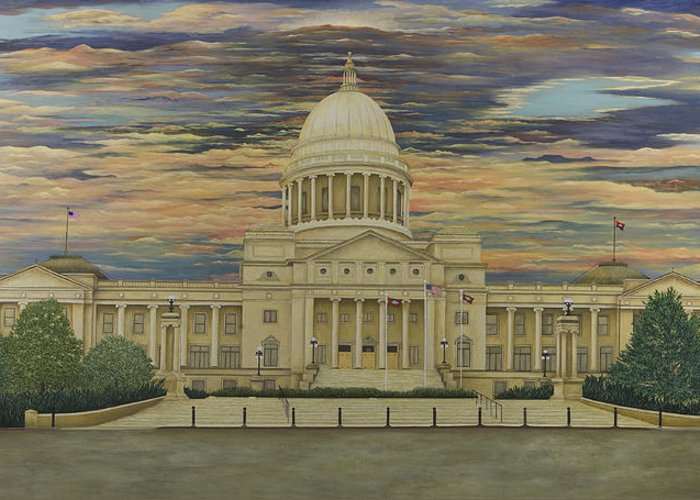 Arkansas State Capitol Paintings Greeting Card featuring the painting Arkansas State Capitol by Mary Ann King