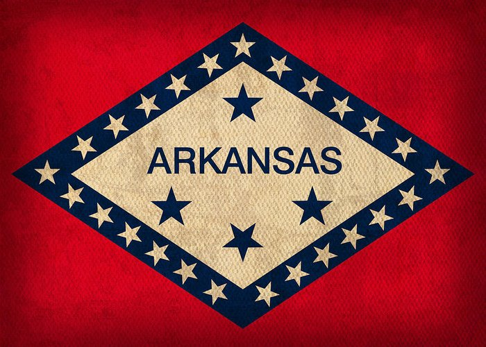 Arkansas Greeting Card featuring the mixed media Arkansas State Flag Art On Worn Canvas by Design Turnpike