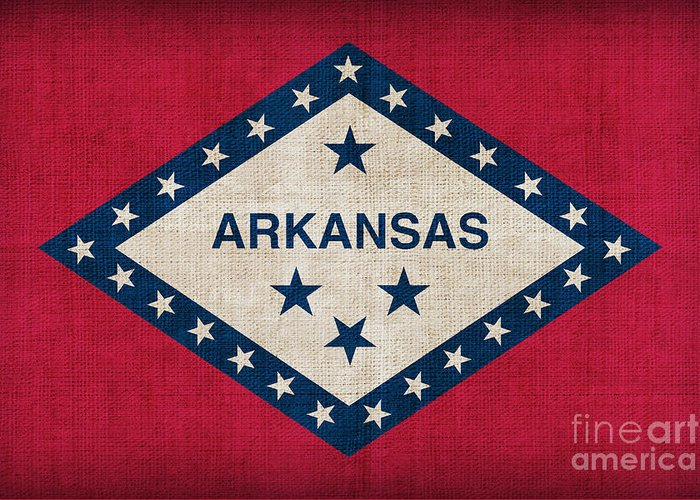 Arkansas Greeting Card featuring the painting Arkansas State Flag by Pixel Chimp