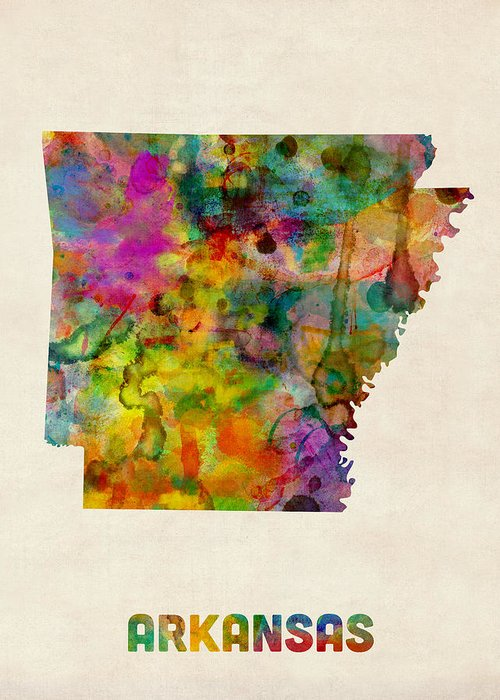 United States Map Greeting Card featuring the digital art Arkansas Watercolor Map by Michael Tompsett