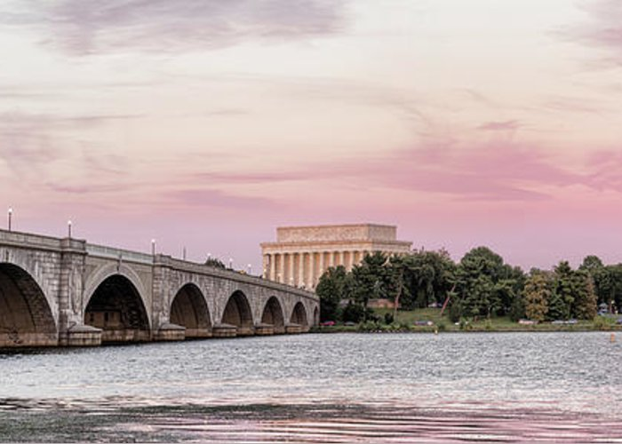 Photography Greeting Card featuring the photograph Arlington Memorial Bridge With Lincoln by Panoramic Images