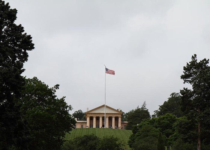 Arlington Greeting Card featuring the photograph Arlington National Cemetery - Arlington House - 01131 by DC Photographer