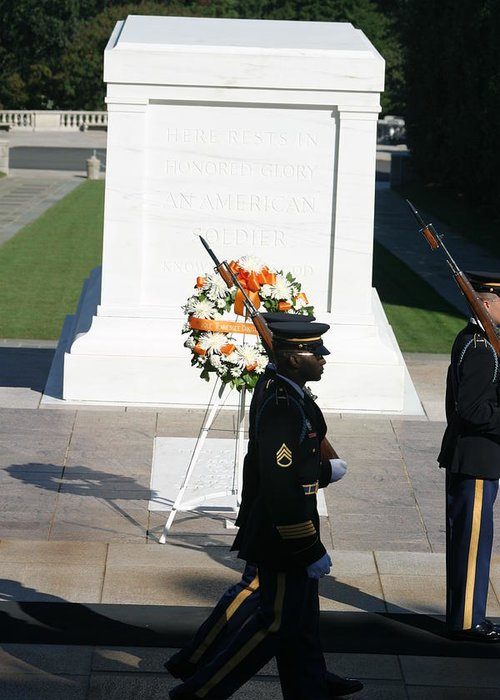 Arlington Greeting Card featuring the photograph Arlington National Cemetery - Tomb Of The Unknown Soldier - 121213 by DC Photographer