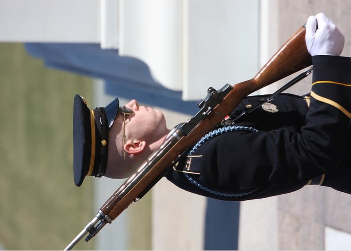 Arlington Greeting Card featuring the photograph Arlington National Cemetery - Tomb Of The Unknown Soldier - 121228 by DC Photographer
